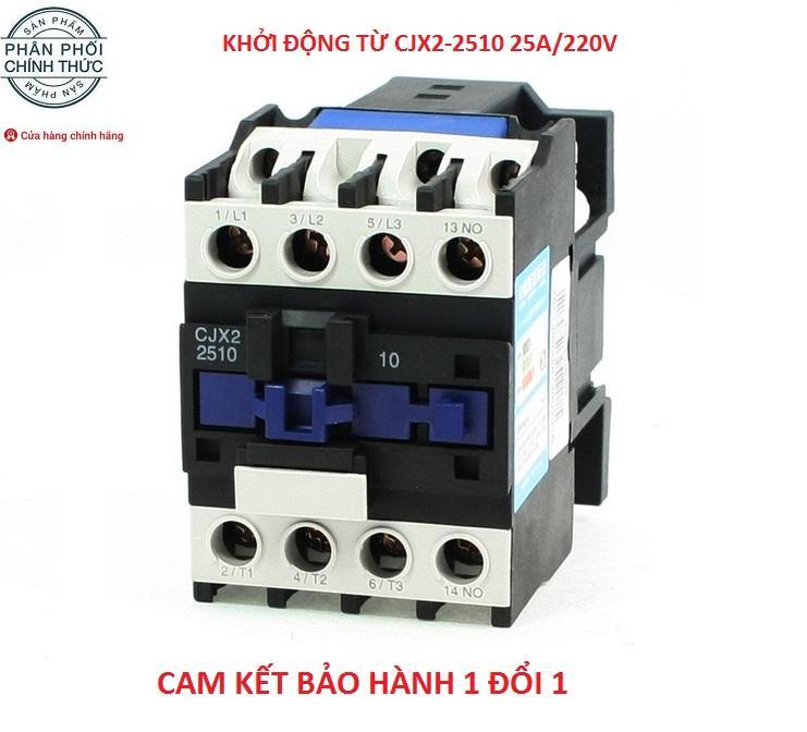 Khởi động từ contactor công suất lớn CJX2-2510 25A/220V (Trắng phối xanh)