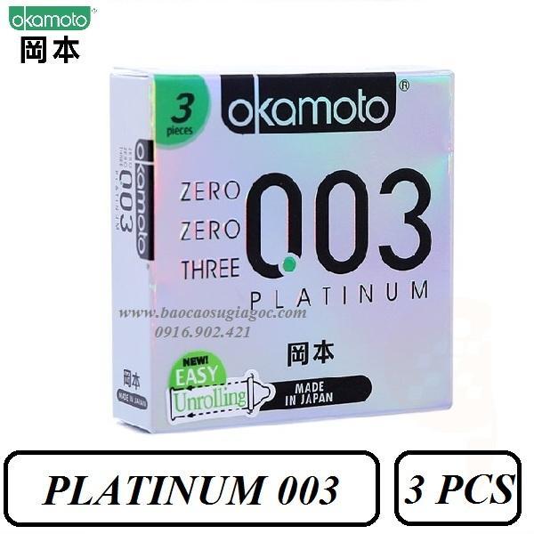 Bao cao su Okamoto Platinum 003 siêu mỏng bóng láng hộp 3 bao nhập khẩu
