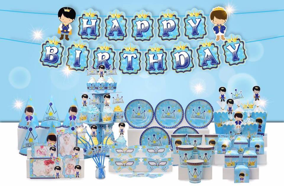 Hình ảnh Bộ bàn tiệc trang trí sinh nhật hoàng tử- bé trai