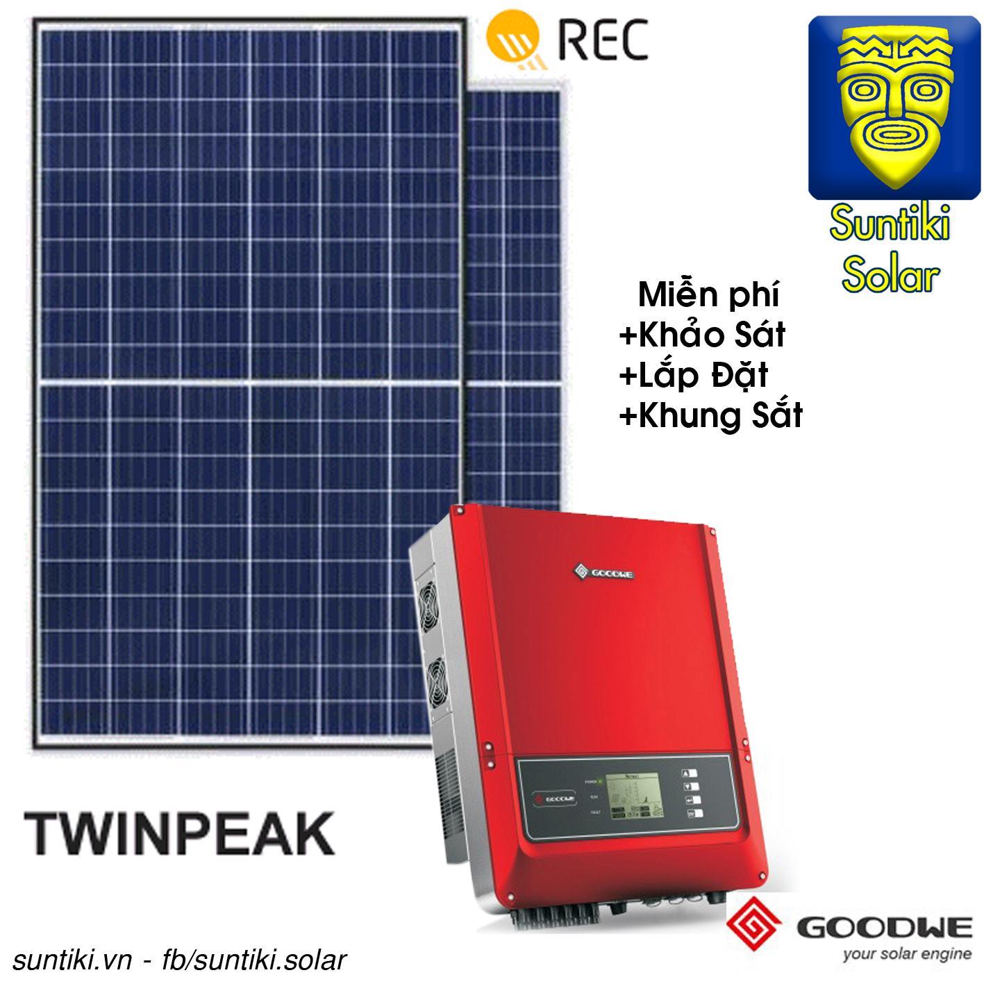 Hình ảnh Combo Hệ thống điện năng lượng mặt trời - 3420W (12 tấm pin REC + Máy biến tần Goodwe)