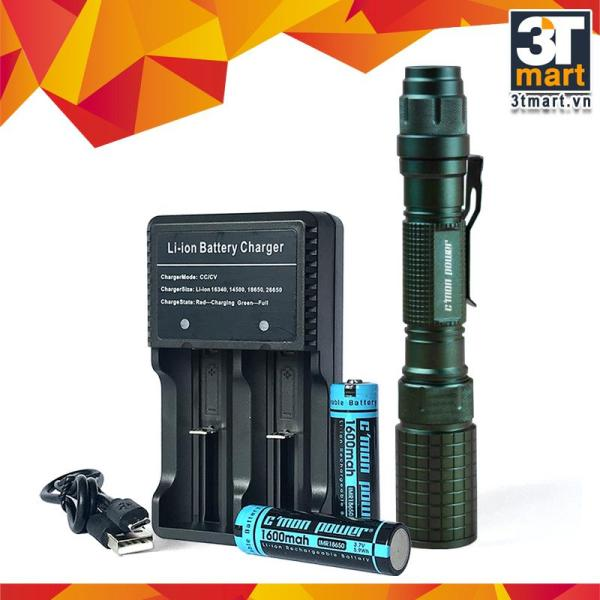 Bộ 1 đèn pin Cmon Power DELTA L2 LED + 2 pin sạc + bộ sạc đôi nhanh USB 1A