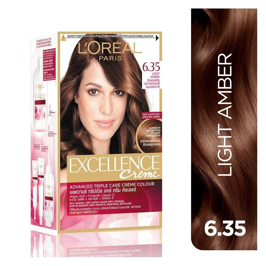 Thuốc nhuộm tóc Loreal Paris Excellence Creme #6.35 Nâu Socola - Tặng nón trùm tóc