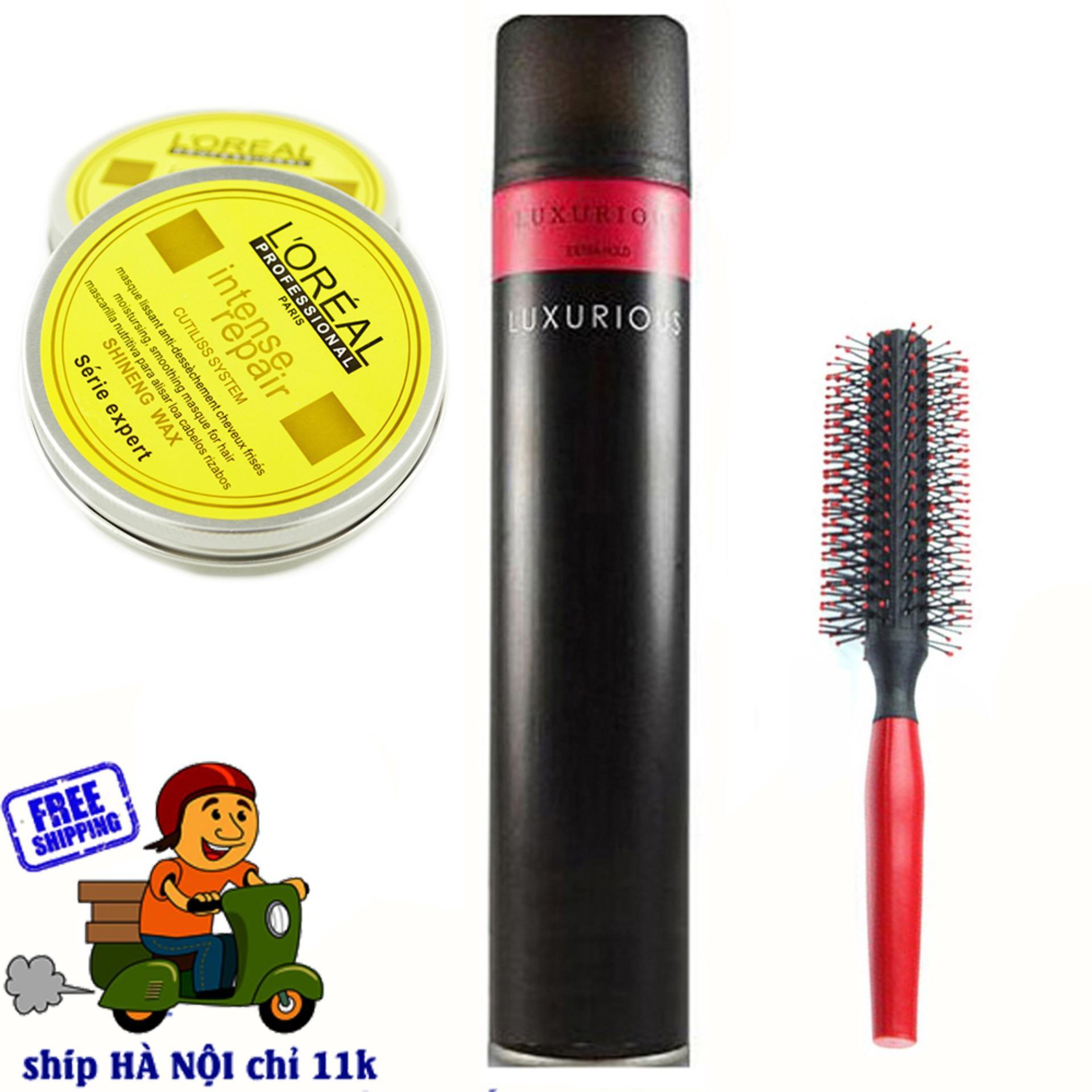 Hình ảnh Combo Gôm luxurious và Sáp + tặng 1 lược tròn tạo kiểu tóc