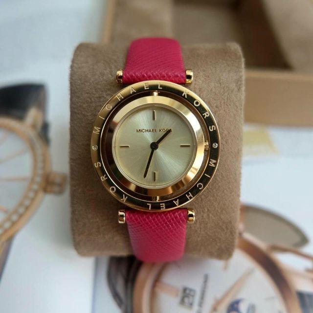 Đồng hồ nữ dây da Mk2525 mặt xoay (dây hồng) bán chạy