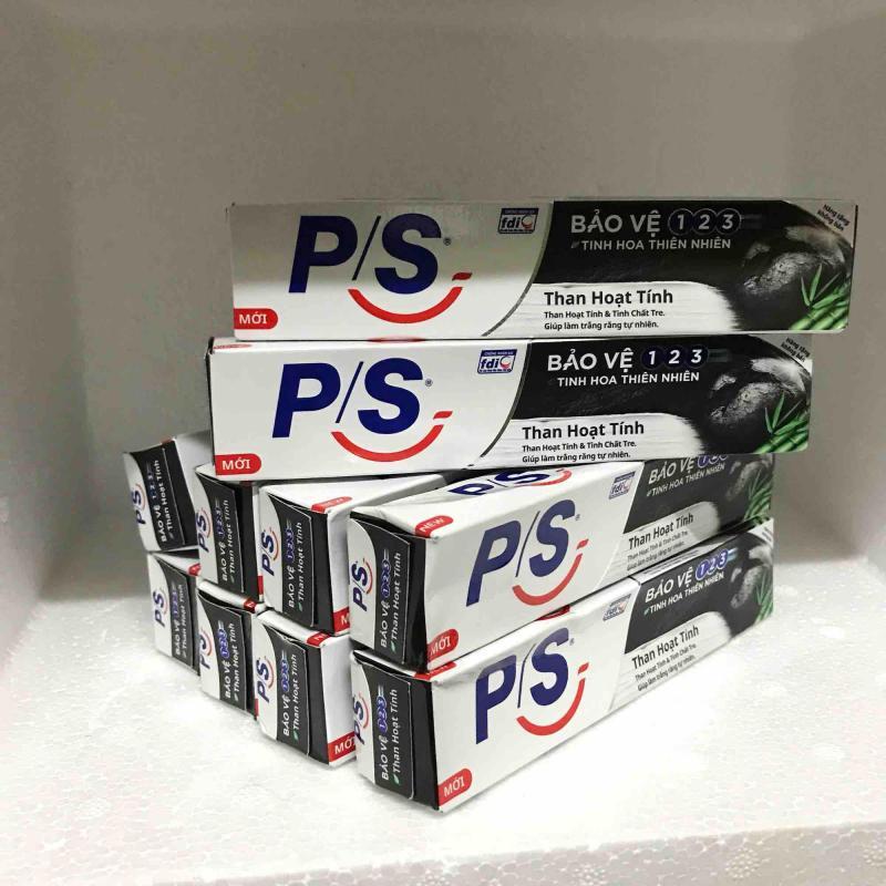 Combo 10 hộp kem đánh răng PS than hoạt tính 30g + tặng 1 túi đựng mỹ phẩm nhập khẩu