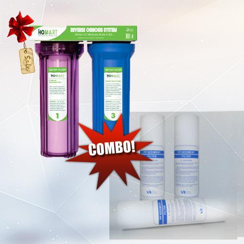 COMBO Bộ lọc nước sinh hoạt 2 cấp 20C3  và Bộ 3 lõi lọc nước số 1 PPF 10INCH