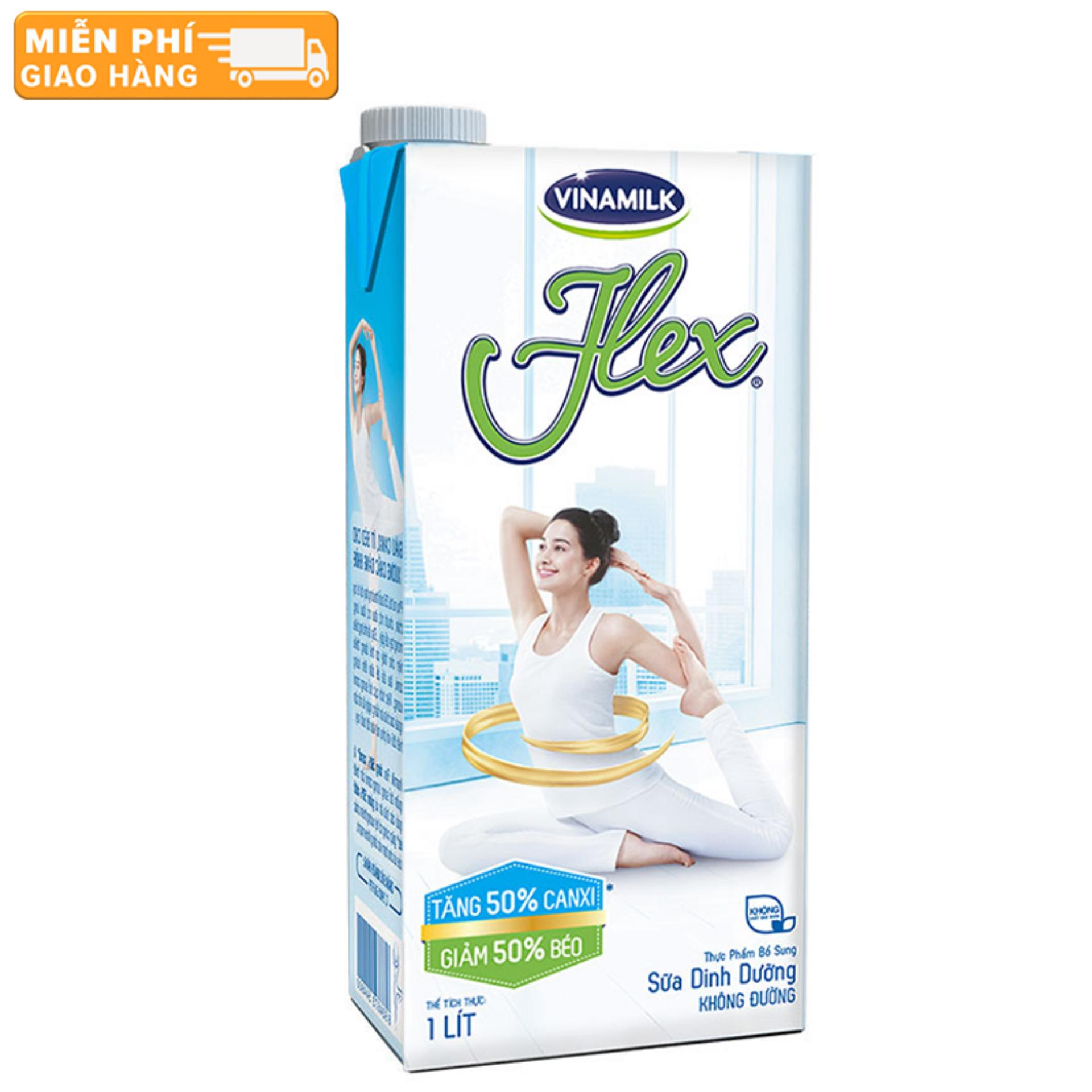 Thùng 12 Hộp Sữa tiệt trùng Flex không đường 1L (Hộp giấy)