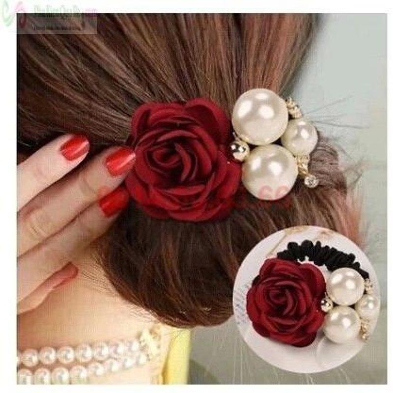 Buộc tóc hoa hồng ngọc trai (Đỏ) tốt nhất