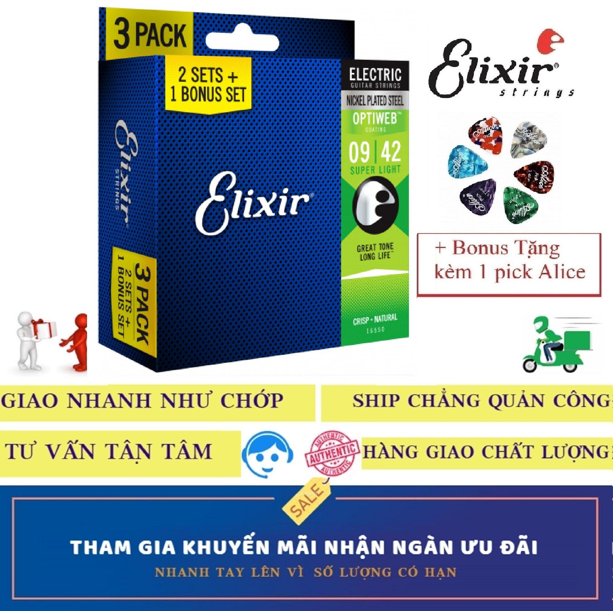 Combo Pack 3 Bộ Dây Đàn Elixir cao cấp 16550 (Cỡ 9) Electric Guitar điện Nickel Plated Steel With OPTIWEB COATING Strings