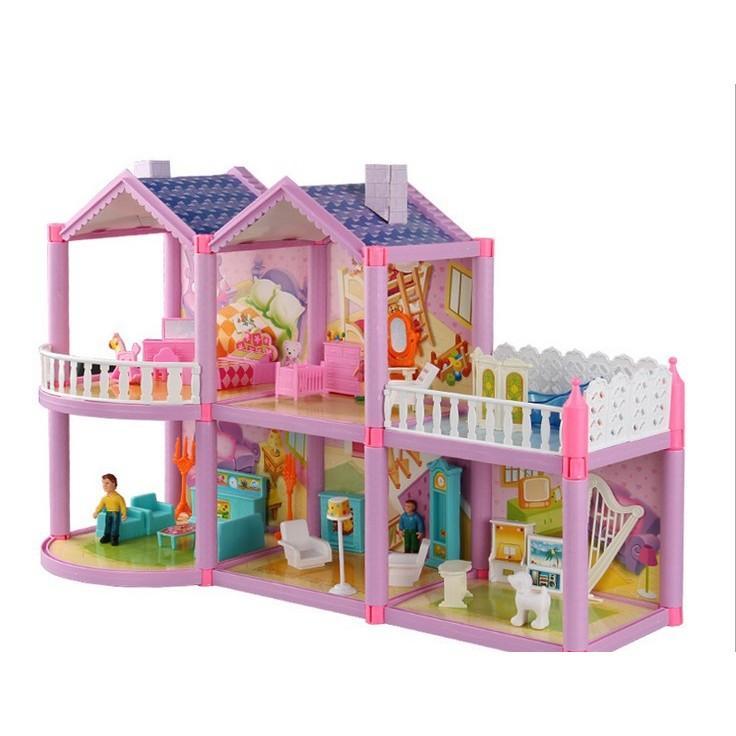 Hình ảnh Mô hình nhà búp bê cỡ lớn cho các bé chơi đồ chơi Barbie