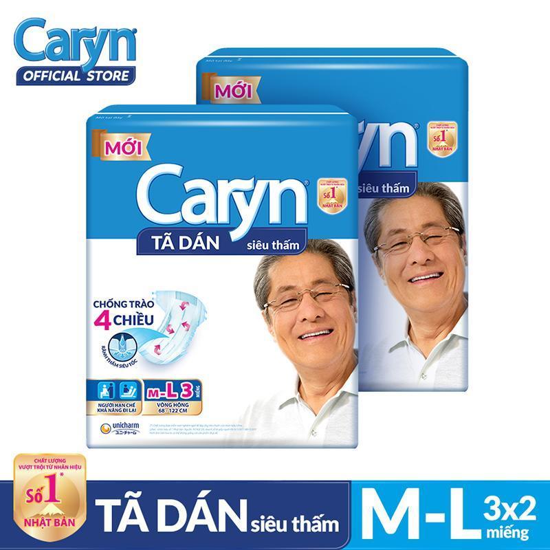 Bộ 2 gói Tã dán Caryn siêu thấm size ML 3 miếng tốt nhất