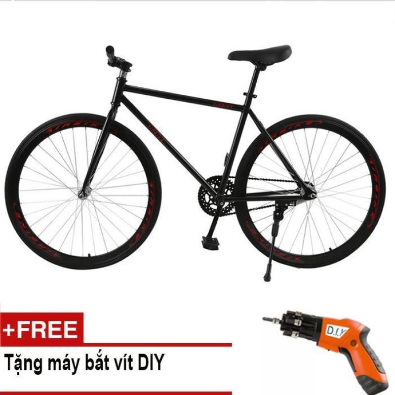 Phân phối Mishio - Xe đạp Fixed Gear Air Bike MK78 (đen) + Tặng máy bắt vít DIY