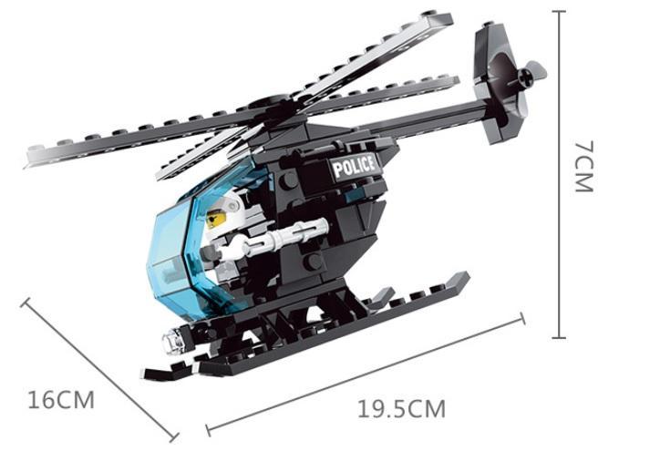 Hình ảnh Bộ lắp ráp máy bay trực thăng cảnh sát 86 chi tiết JIE STAR 20037-5