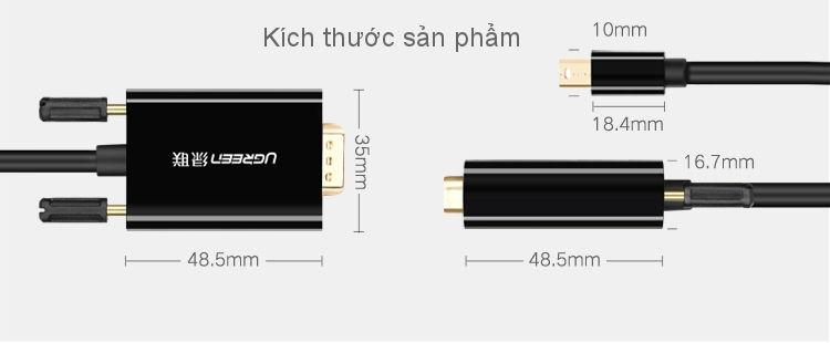 Cáp chuyển đổi Mini Displayport sang VGA dài 1,5m UGREEN MD103