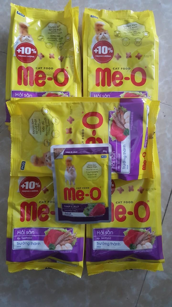 Cơ Hội Giá Tốt Để Sở Hữu COMBO 5 Gói Thức ăn Dạng Hạt Cho Mèo Lớn ME-O 350gr (vị Hải Sản) Tặng Thêm 1 Gói Pate Meo 80g