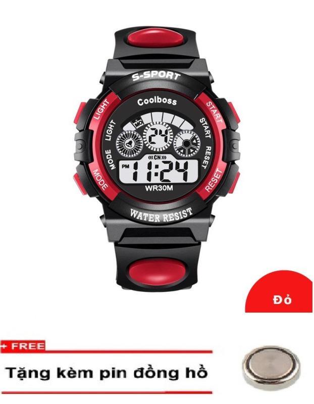Nơi bán Đồng hồ trẻ em dây cao su S-sport 0119 Đỏ + Km 1 Pin đồng hồ