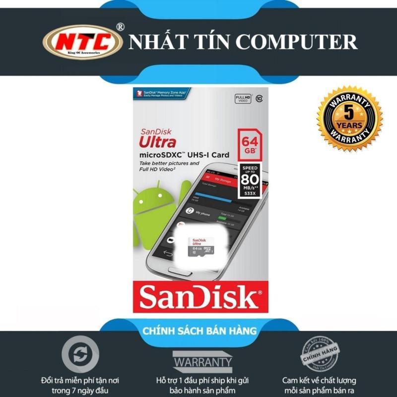 Thẻ nhớ MicroSDXC SanDisk Ultra 533X 64GB 80MB/s - Model 2017 (Trắng bạc)