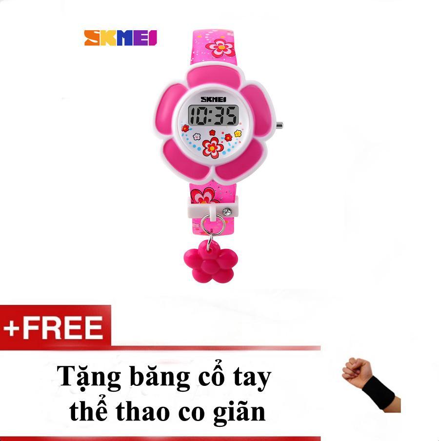(FS) Đồng hồ bé gái hình bông hoa Skmei 1144 Hồng + tặng băng cổ tay bán chạy