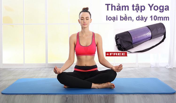 Hình ảnh Thảm tập Yoga cao cấp siêu bền, dày 10mm TPE (Tặng kèm túi đựng và dây buộc thảm)