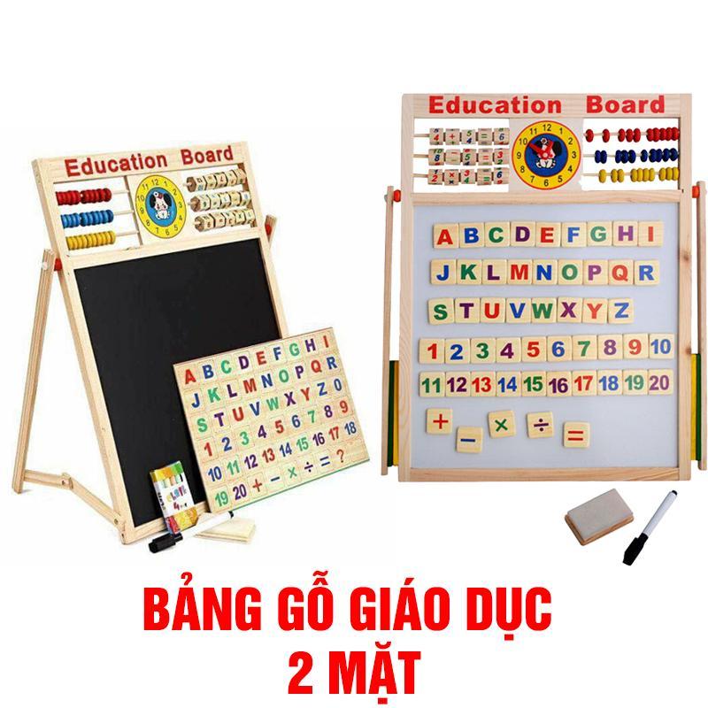 Hình ảnh Bảng gỗ giáo dục nam châm 2 mặt cho bé học tập