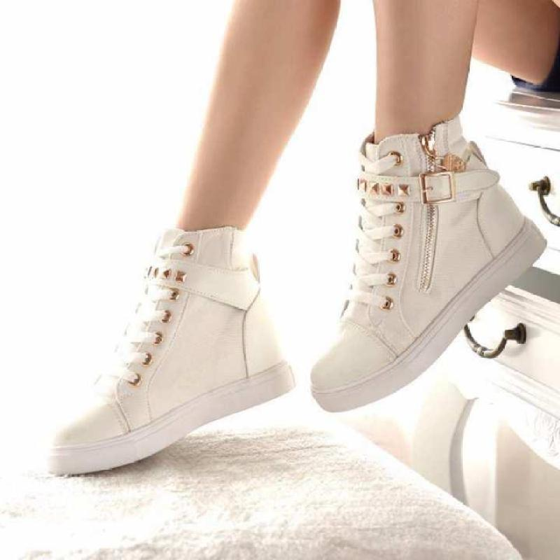 (Xem video thật của SP) Giày sneaker nữ cổ cao APU A-GTTNU-06 / TRT-GTTNU-06 nạm kim loại MSP 2109 (Trắng)