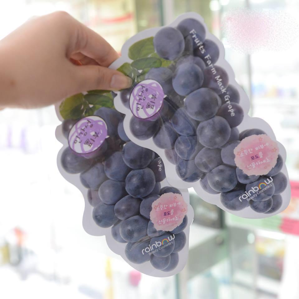 Bộ 10 miếng mặt nạ dưỡng ẩm Rainbow Fruit Farm Mask Pack Hàn Quốc 23ml (Vị nho) nhập khẩu