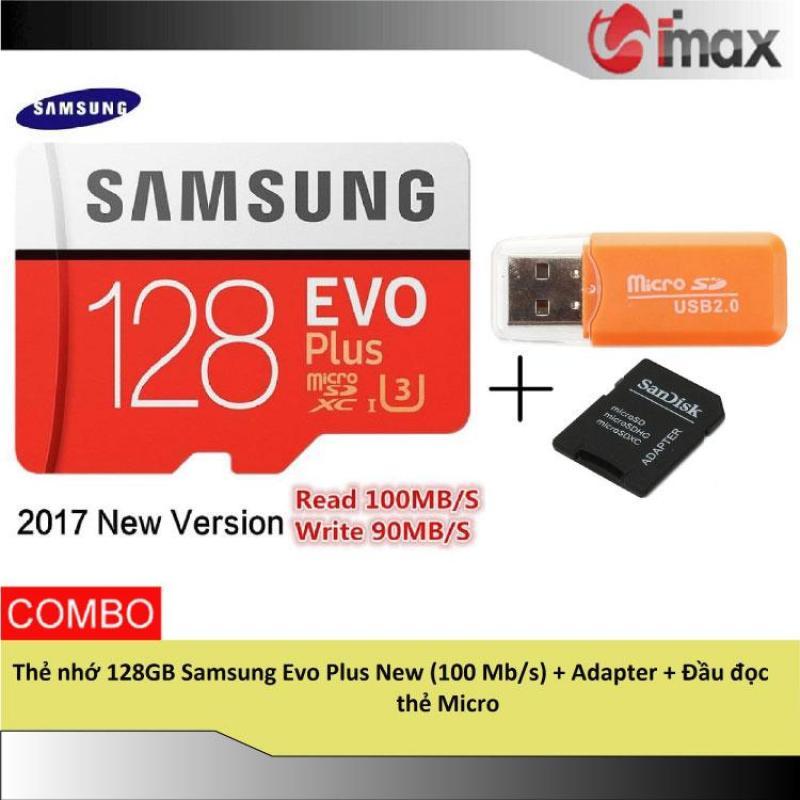 Thẻ nhớ 128GB Samsung Evo Plus New (100 Mb/s) + Adapter + Đầu đọc thẻ Micro