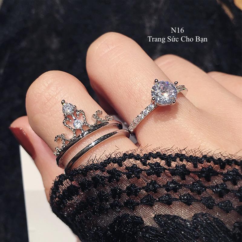 Nhẫn nữ N16 bạch kim hai trong một hạt đá hình vương miệng Hàn Quốc