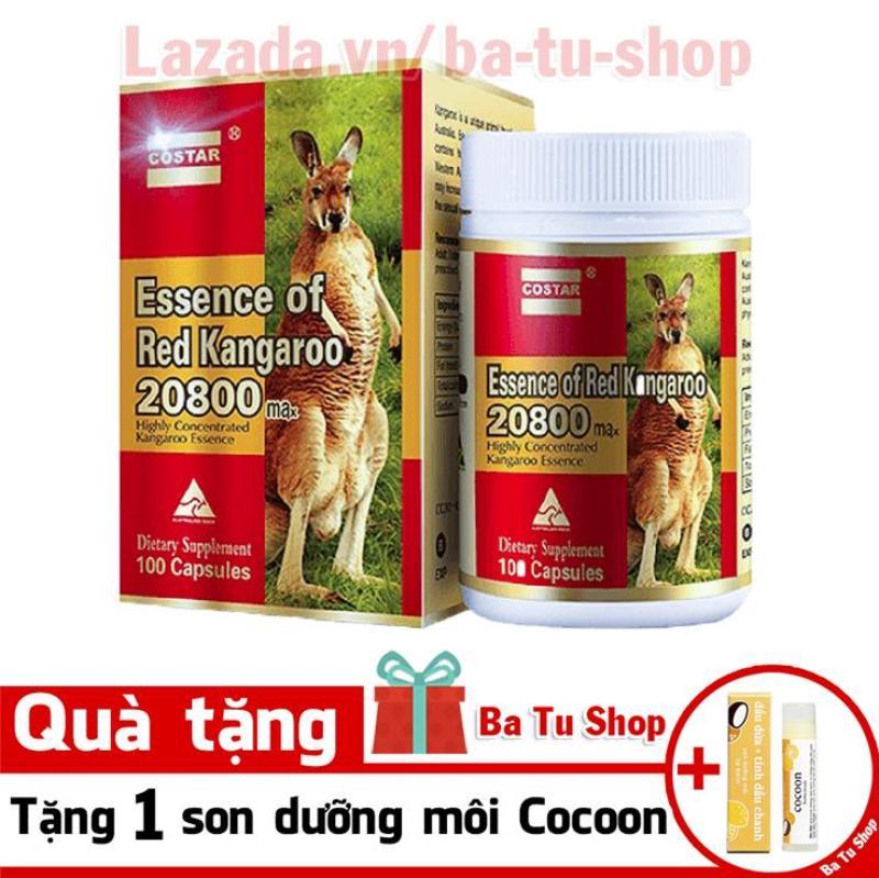 Viên uống sinh lý nam Costar Essence of Red Kangaroo 20800 Max (100 viên) tặng 1 son dưỡng môi Cocoon