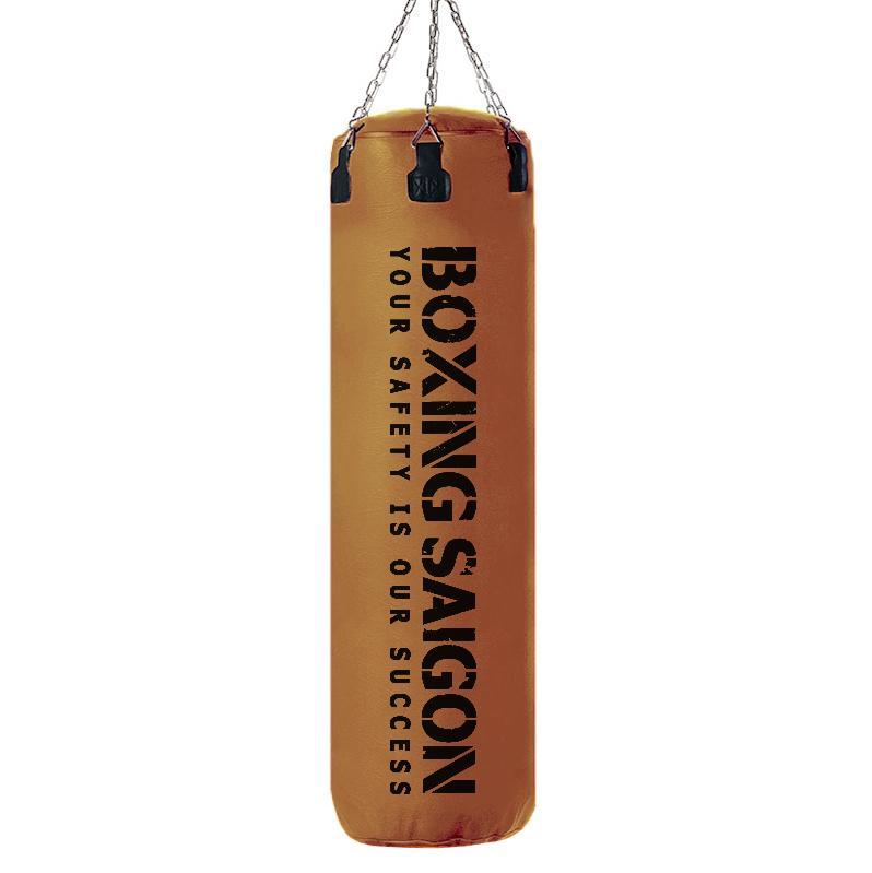 Bao cát đấm bốc Boxing Saigon 1m2 dây xích [ TẶNG KÈM MÓC TREO TRỊ GIÁ 250K ] - Nâu Nhật Bản