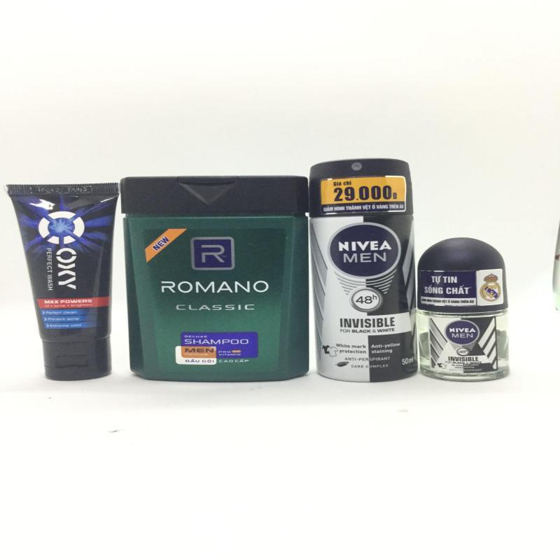 (NHH) Trọn bộ 4 Sản Phẩm Bao Gồm (1 Dầu Gội Đầu Romano (100g/chai), 1 Xịt khử mùi Nivea (40ml/chai), 1 Sữa rửa mặt OXY (25g/tuýp + Lăn Khử Mùi Nivea (12ml)) nhập khẩu