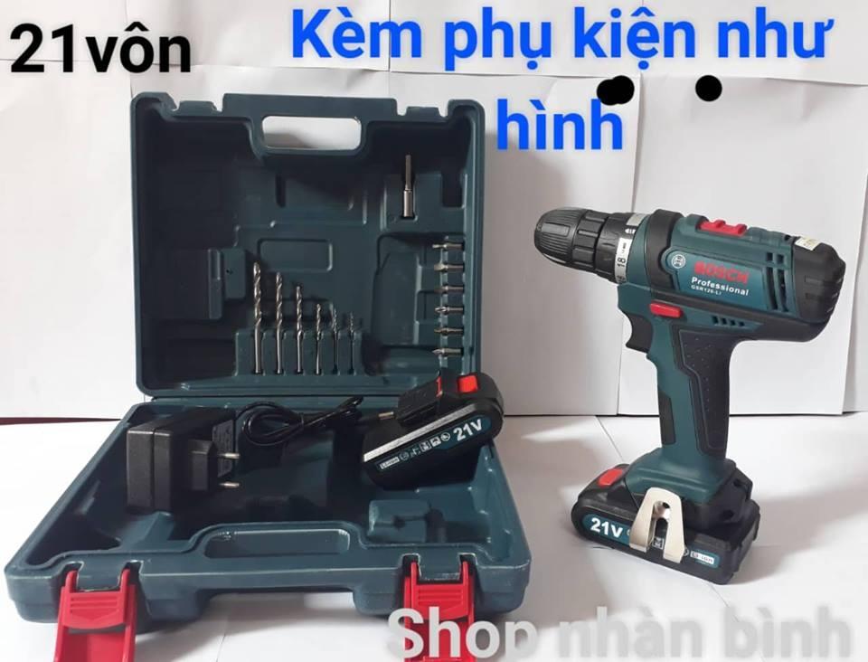 Máy khoan pin Bosch 21V siêu khỏe - (tặng kèm phụ kiện)