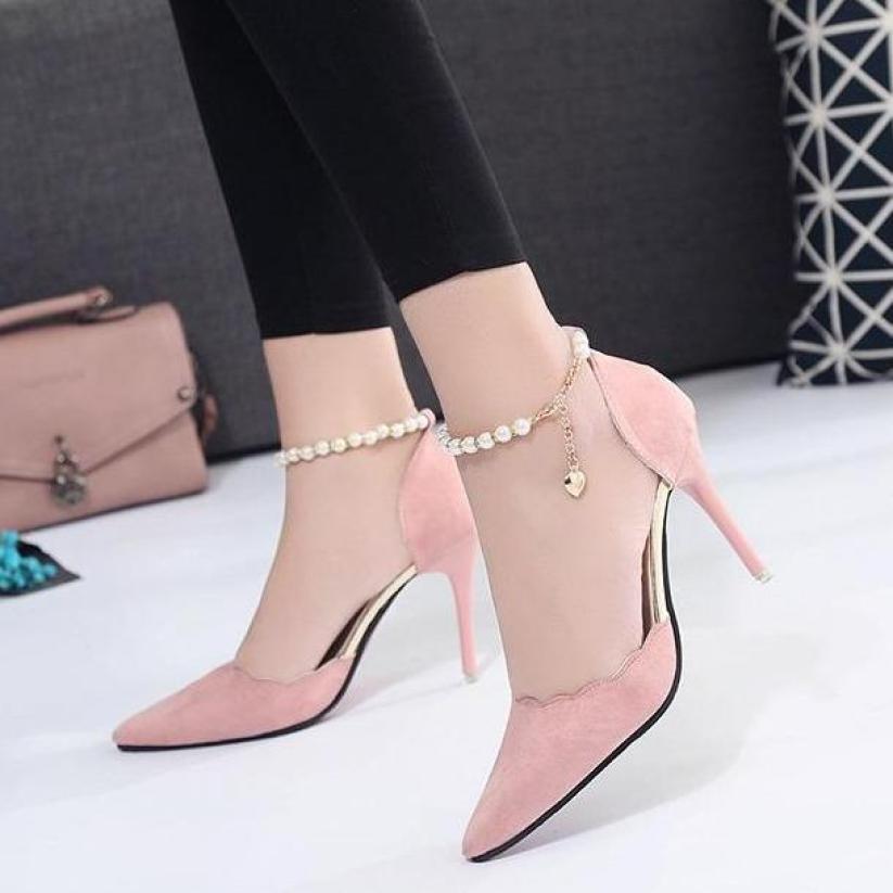 Giày cao gót chất đẹp quai đính hạt thời trang cao 8cm giá rẻ