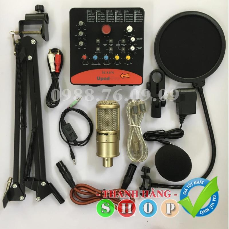 Combo Bộ mic thu âm livestream PC K200 Sound Card Icon upod pro