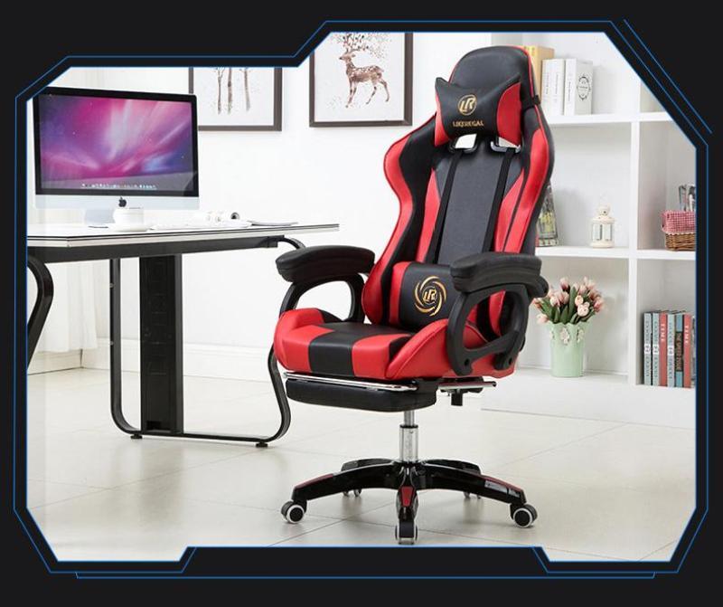 Ghế văn phòng, ghế chơi games ngả lưng, kê chân thư giãn, ngủ trưa tiện dụng phong cách (đen đỏ) giá rẻ