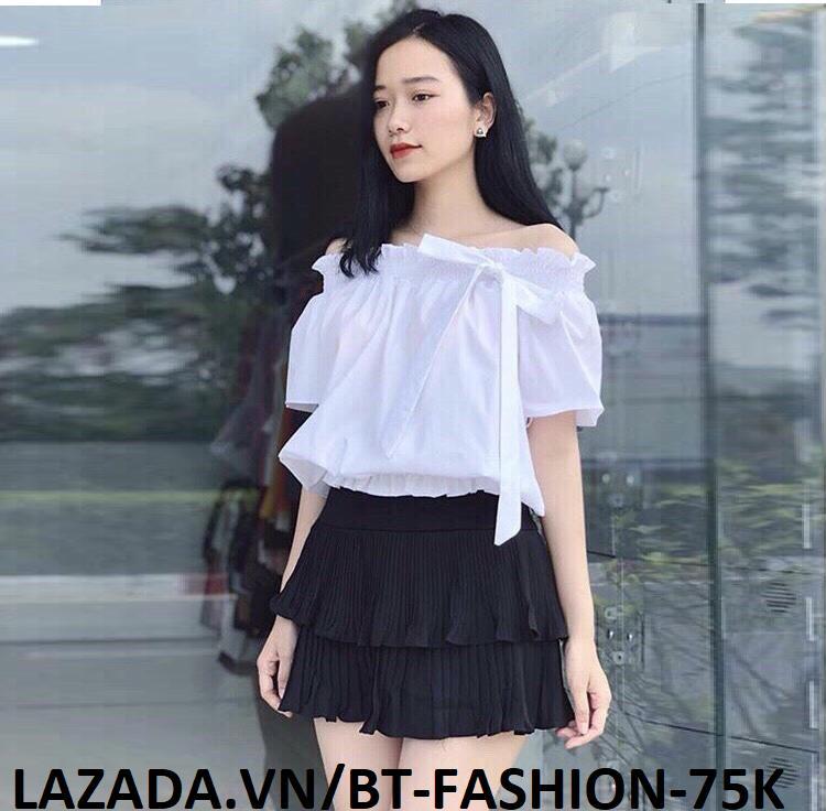 Áo Kiểu Trễ Vai, Voan, Phối Nơ Thời Trang Mới - BT Fashion  (Nơ Bên)