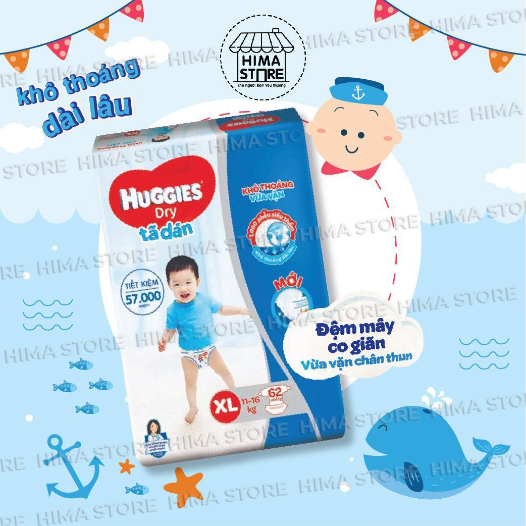 Tã dán Huggies Dry Super Jumbo XL62-62 Miếng cho bé từ 11-17kg-Mẫu mới có đệm mây