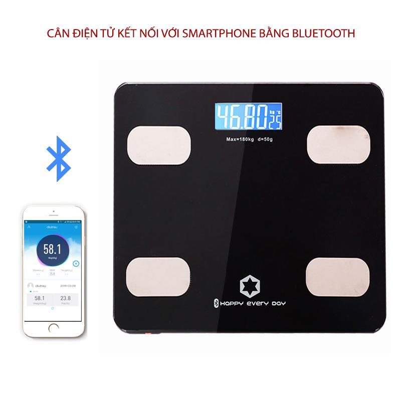 Cân điện tử sức khỏe thông minh Y160 kết nối với smartphone bằng bluetooth (màu đen) nhập khẩu