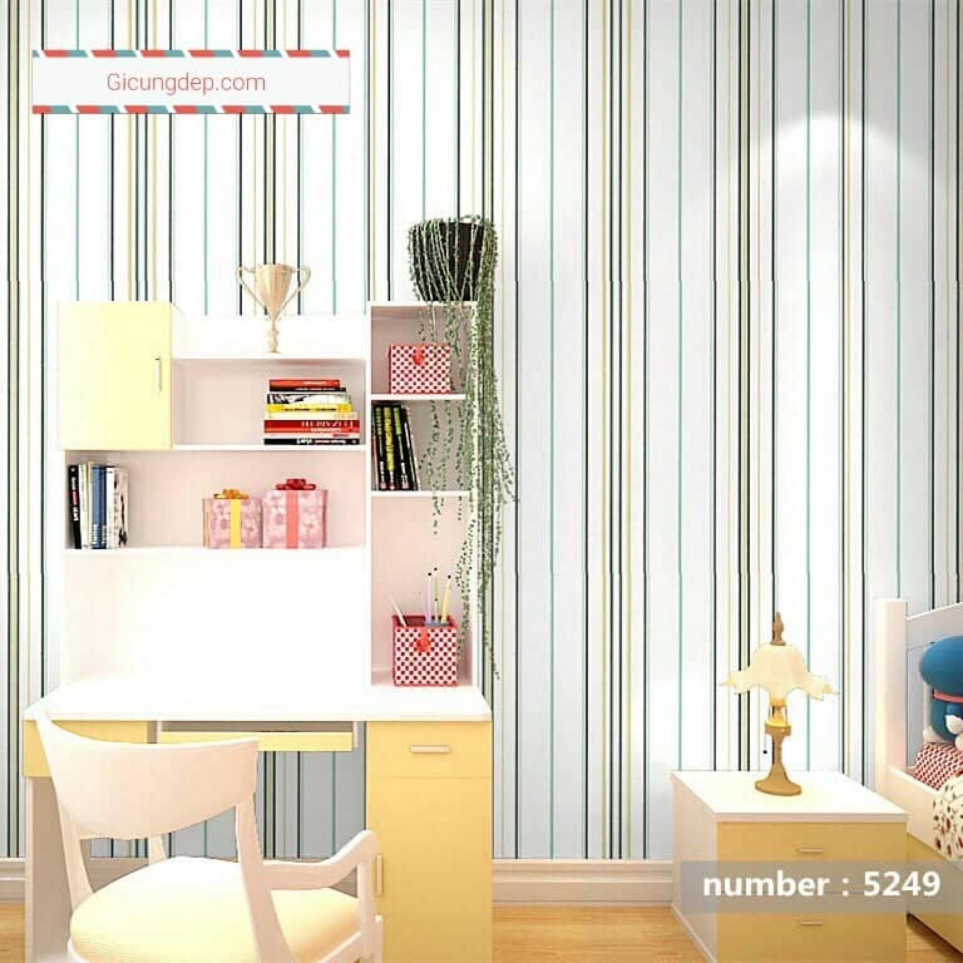 5m vuông Giấy dán tường phong cách Hàn Quốc khổ rộng 45cm Sọc 5249