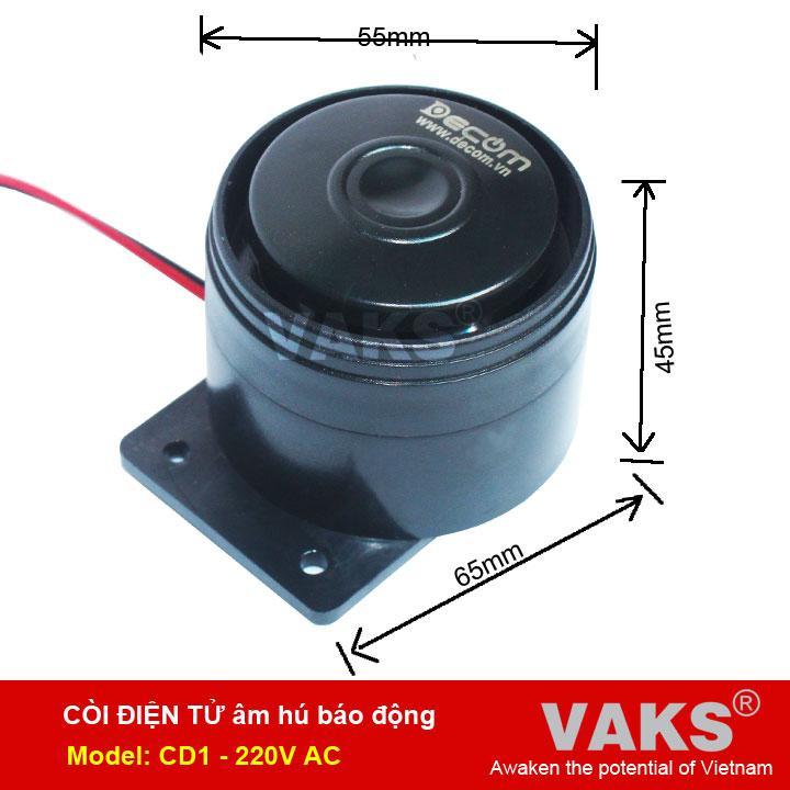 Hình ảnh Còi điện tử hú báo động dùng điện 220V AC (Đen)