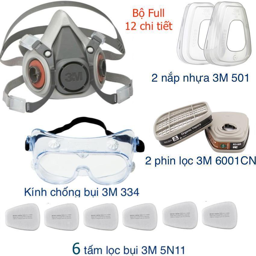 Mặt nạ 3M 6200 hoặc 3M 6100 phin lọc 6001CN ( Or 3M 6003) bộ full chi tiết chống bụi siêu mịn PM2.5, virus, phòng độc chống cháy, hỏa hoạn, phun sơn, phun thuốc trừ sâu đa năng chuyên dụng