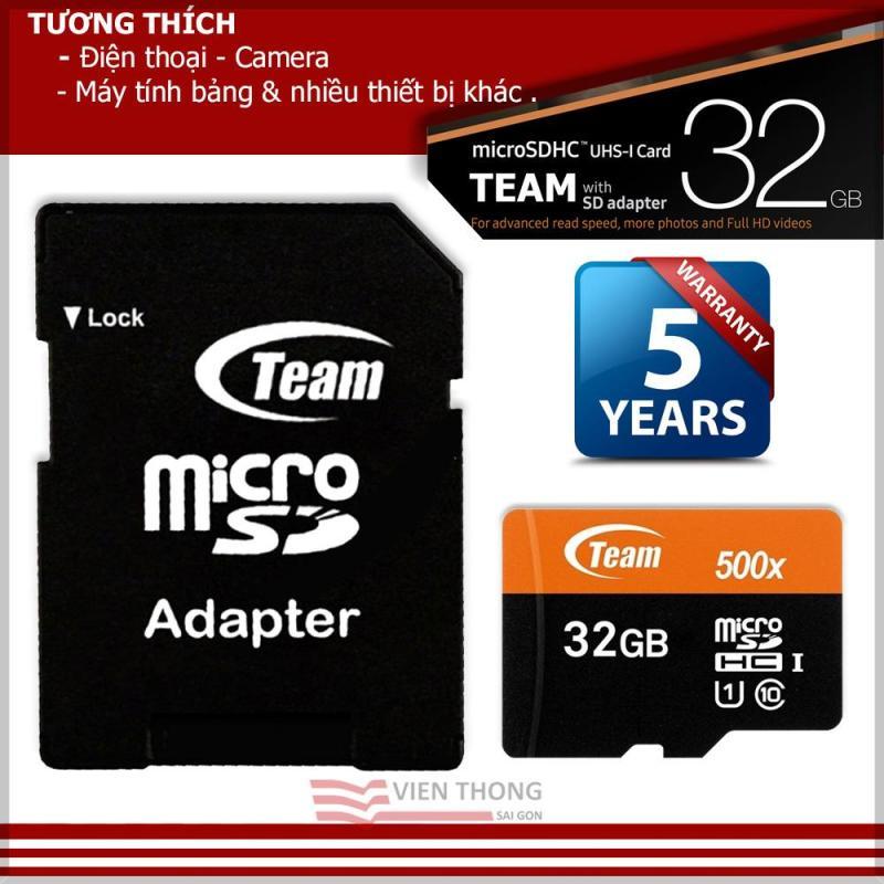 Thẻ nhớ 32GB Team Up to 80MB/s tốc độ cao MicroSDHC Class10 UHS1 (cam) + adapter - Hãng Phân Phối Chính Thức