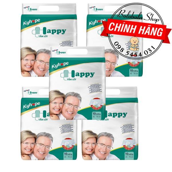 Combo 5 gói Tấm lót Kyhope Happy người già Size M/L 10 Miếng giá rẻ