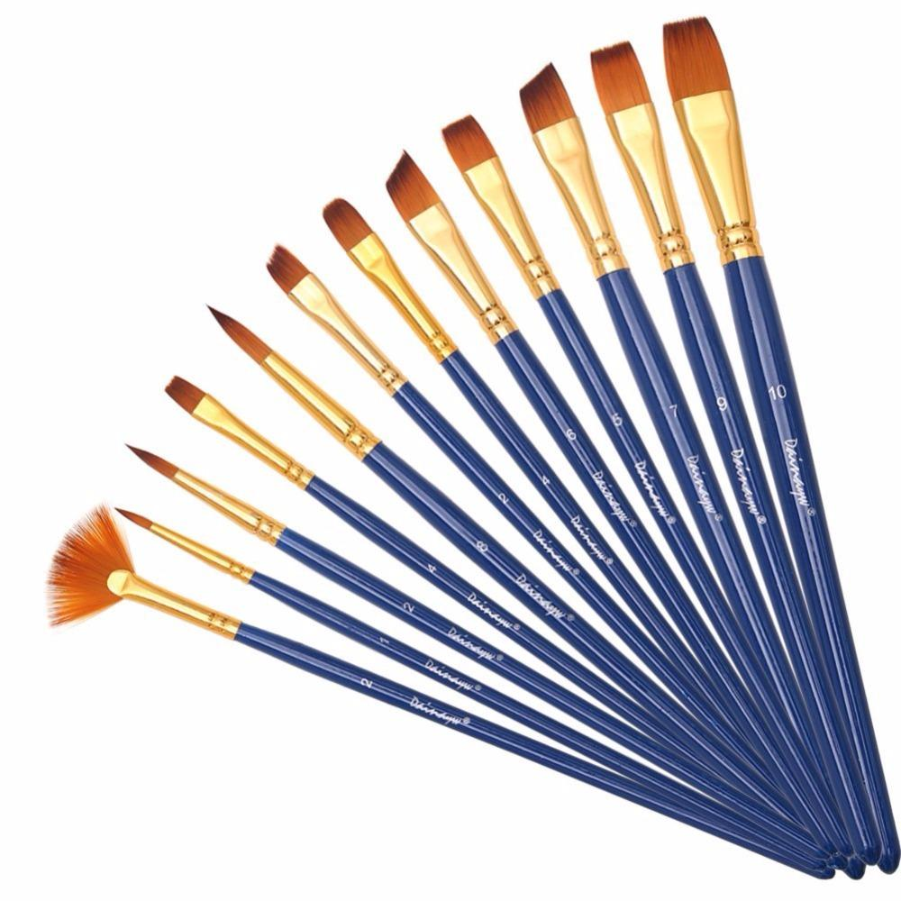 Mua 12pcs/set Different Shape Nylon Hair Paint Brushes Artist Oil Watercolor Painting Brush For Professional Art Supplies - intl