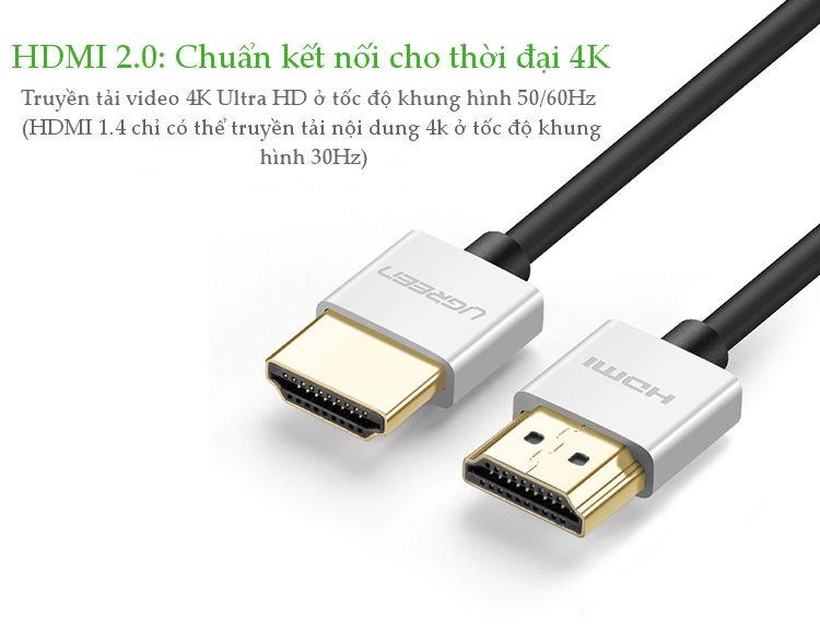 Dây HDMI 2.0 thuần đồng hỗ trợ 18Gbps, đầu hợp kim, 8M UGREEN HD117