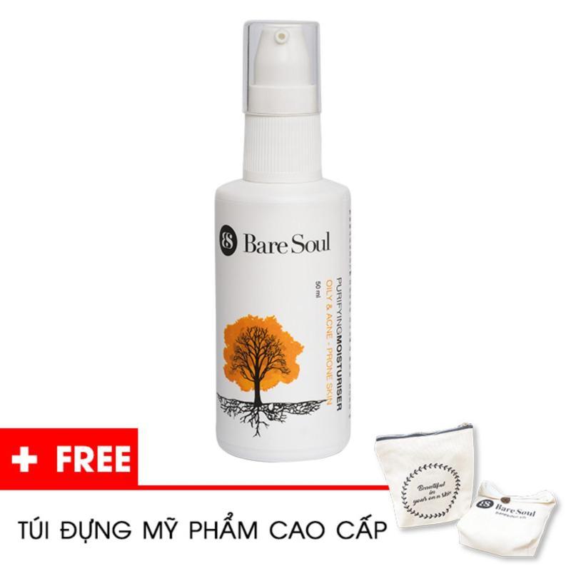 Kem dưỡng ẩm thanh lọc BareSoul – Da dầu và trị mụn 50ml – Hàng chính hãng – Purifying Moisturiser Oily & Acne Prone Skin + Tặng túi mỹ phẩm cao cấp