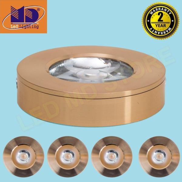 Bộ 5 Đèn led ốp nổi Tròn COB vỏ vàng gold ánh sáng vàng 3W