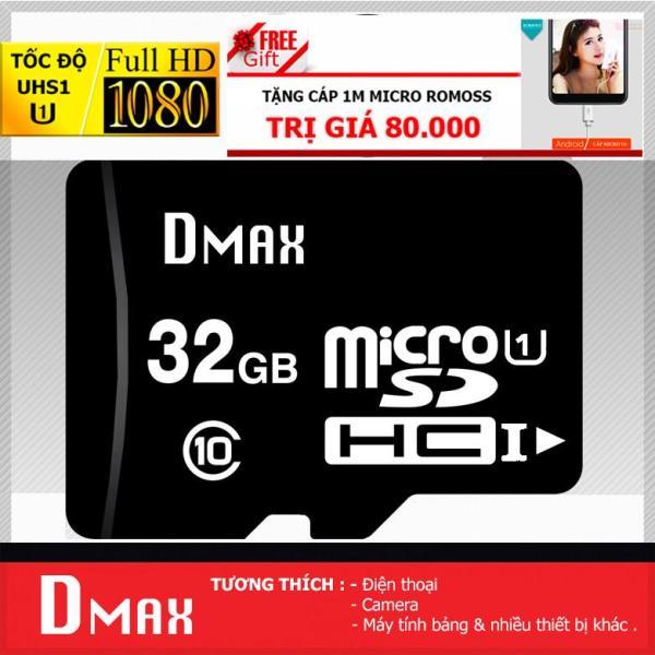 Thẻ nhớ 32GB tốc độ cao UHS1 U1, up to 90MB/s Dmax Micro SDHC class 10 +Tặng cáp micro tròn