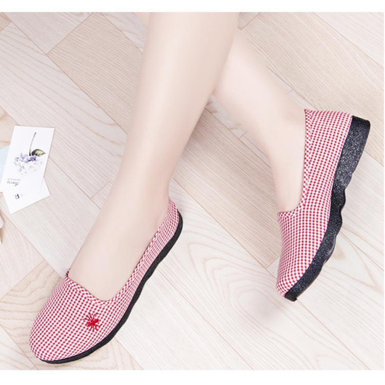 Giày lười slip on nữ vải carô có đế cao su cực dẻo chống trượt và đi bộ cực êm chân, giày học sinh, giày công sở giá rẻ - Caro Canvas 344 Nhật Bản
