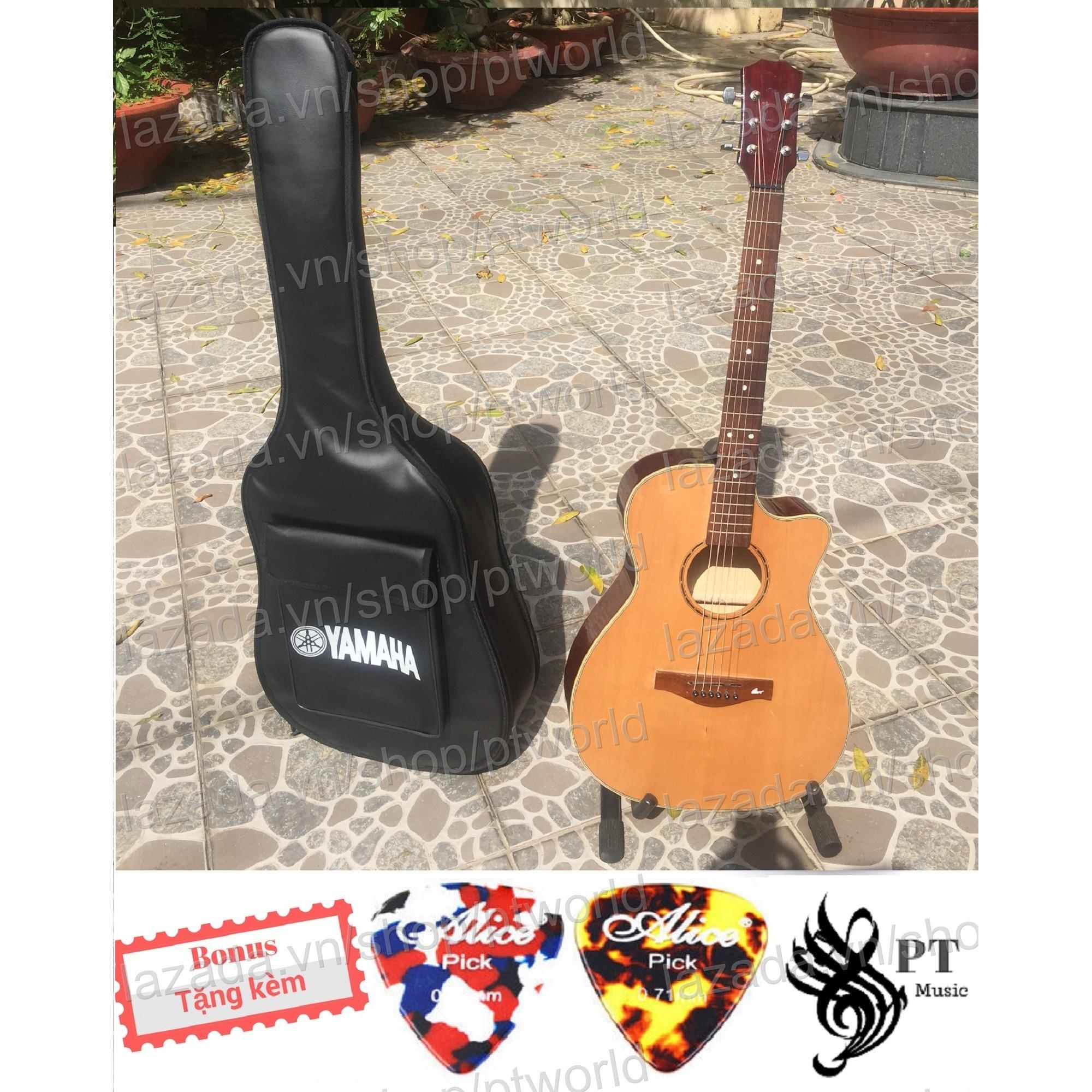 Cửa Hàng Bán Đàn Guitar Acoustic Cao Cáp Gõ Hòng Đào Ép Bao Da 3 Lớp 2 Picks Alice